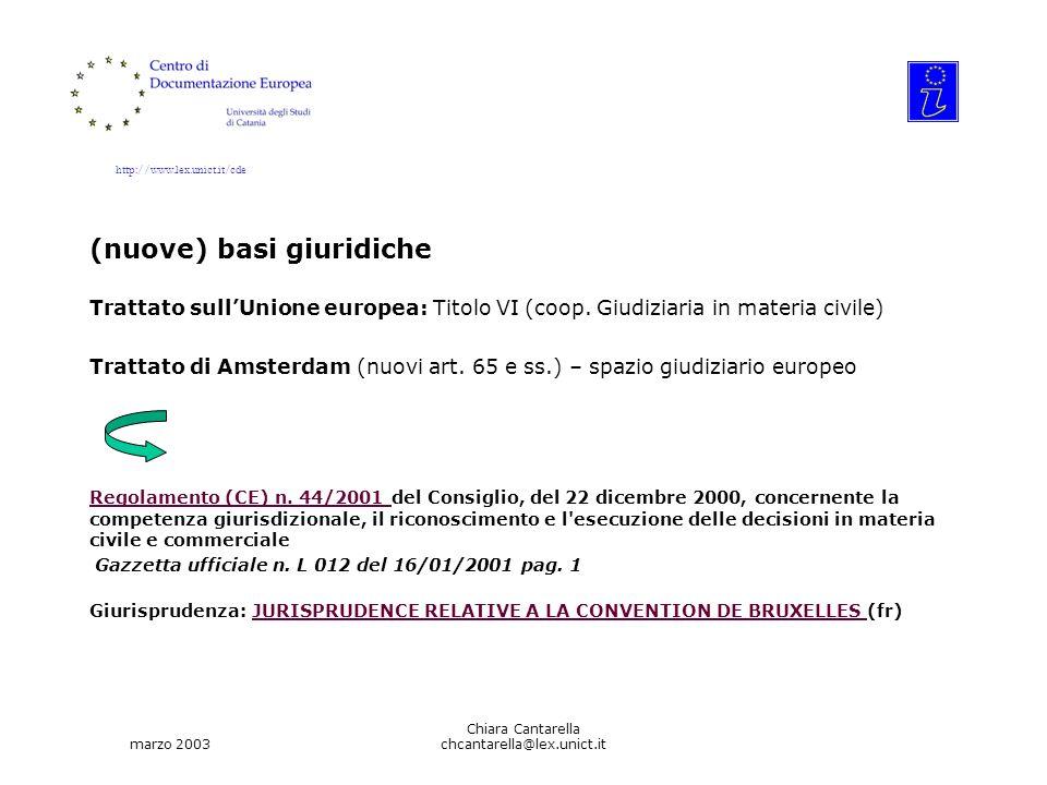 http://www.lex.unict.it/cde marzo 2003 Chiara Cantarella chcantarella@lex.unict.it (nuove) basi giuridiche Trattato sullUnione europea: Titolo VI (coop.