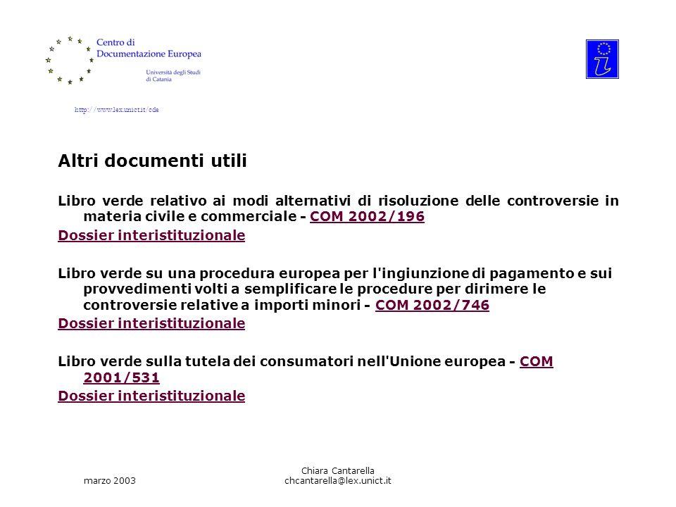 http://www.lex.unict.it/cde marzo 2003 Chiara Cantarella chcantarella@lex.unict.it Altri documenti utili Libro verde relativo ai modi alternativi di risoluzione delle controversie in materia civile e commerciale - COM 2002/196COM 2002/196 Dossier interistituzionale Libro verde su una procedura europea per l ingiunzione di pagamento e sui provvedimenti volti a semplificare le procedure per dirimere le controversie relative a importi minori - COM 2002/746COM 2002/746 Dossier interistituzionale Libro verde sulla tutela dei consumatori nell Unione europea - COM 2001/531COM 2001/531 Dossier interistituzionale