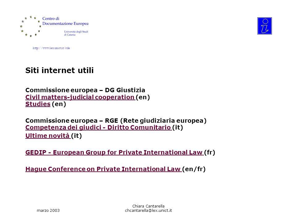 http://www.lex.unict.it/cde marzo 2003 Chiara Cantarella chcantarella@lex.unict.it Siti internet utili Commissione europea – DG Giustizia Civil matter