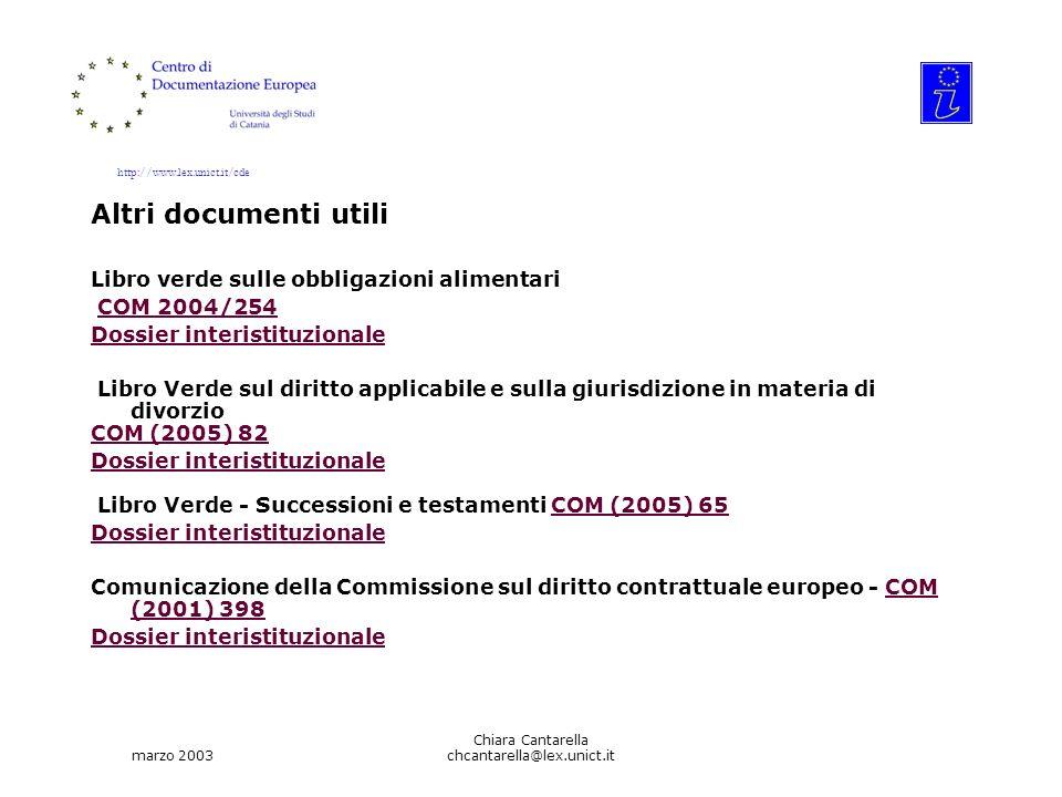 http://www.lex.unict.it/cde marzo 2003 Chiara Cantarella chcantarella@lex.unict.it Altri documenti utili Libro verde sulle obbligazioni alimentari COM