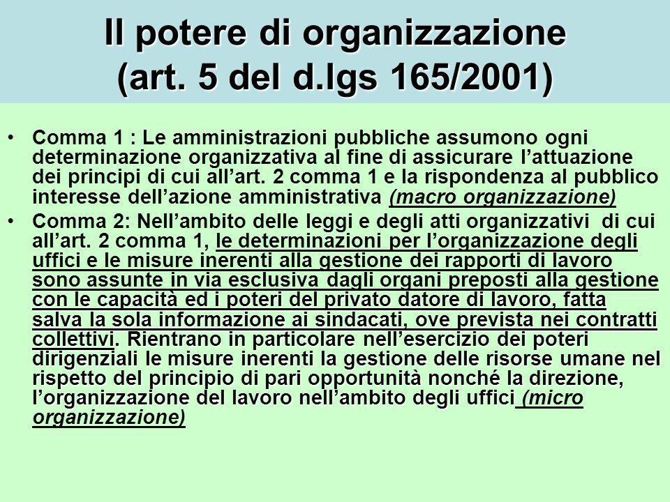 Il potere di organizzazione (art.