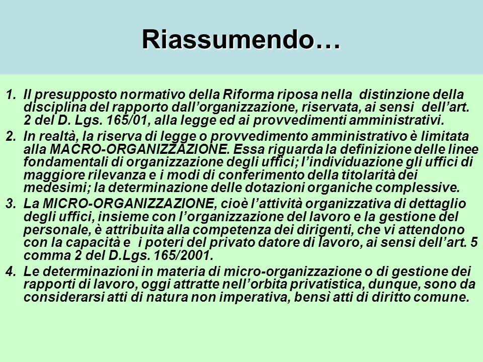 Riassumendo… 1.Il presupposto normativo della Riforma riposa nella distinzione della disciplina del rapporto dallorganizzazione, riservata, ai sensi dellart.