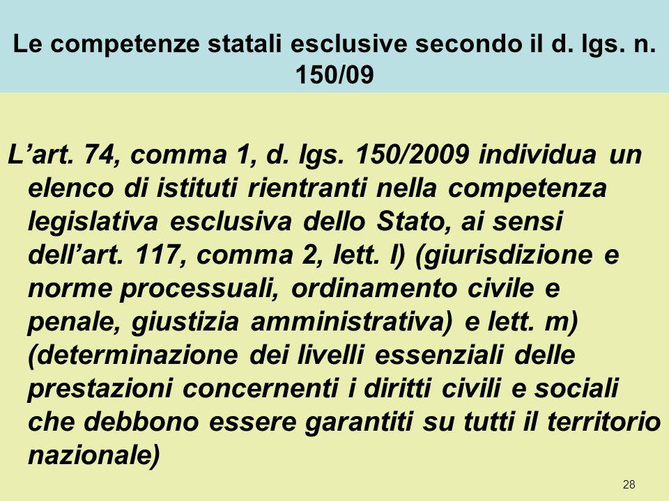 Le competenze statali esclusive secondo il d. lgs.