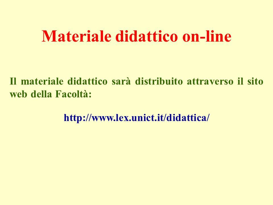 Materiale didattico on-line Il materiale didattico sarà distribuito attraverso il sito web della Facoltà: http://www.lex.unict.it/didattica/