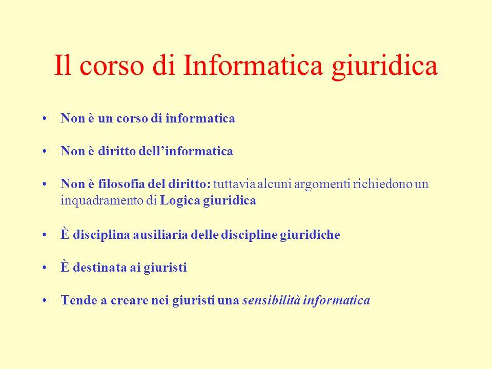 Il corso di Informatica giuridica Non è un corso di informatica Non è diritto dellinformatica Non è filosofia del diritto: tuttavia alcuni argomenti r