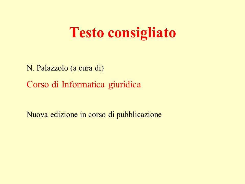 N. Palazzolo (a cura di) Corso di Informatica giuridica Nuova edizione in corso di pubblicazione Testo consigliato