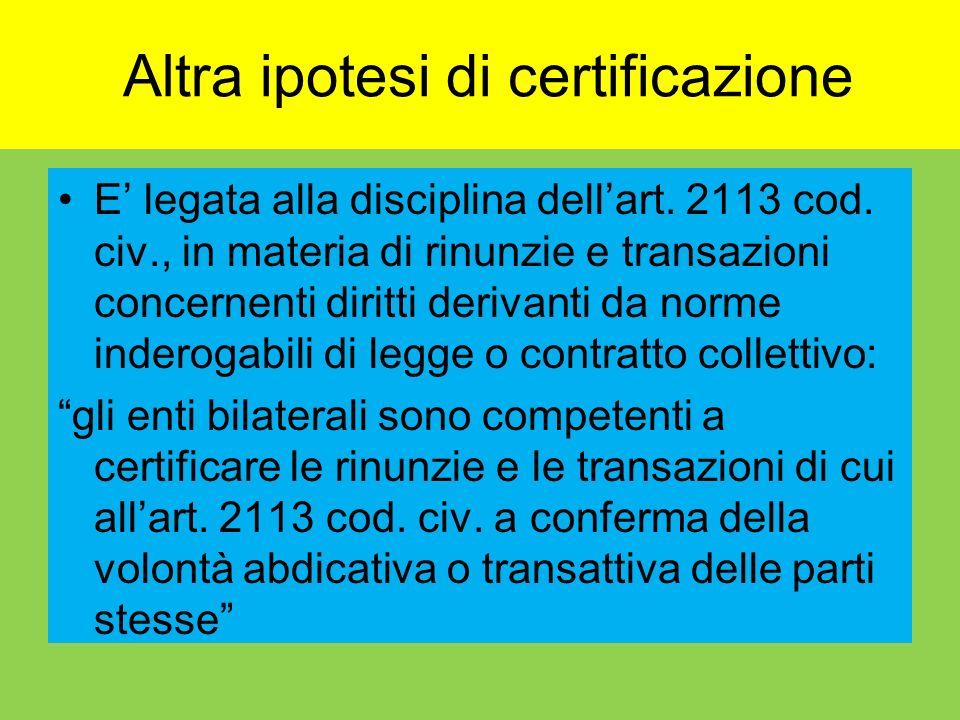 Altra ipotesi di certificazione E legata alla disciplina dellart. 2113 cod. civ., in materia di rinunzie e transazioni concernenti diritti derivanti d