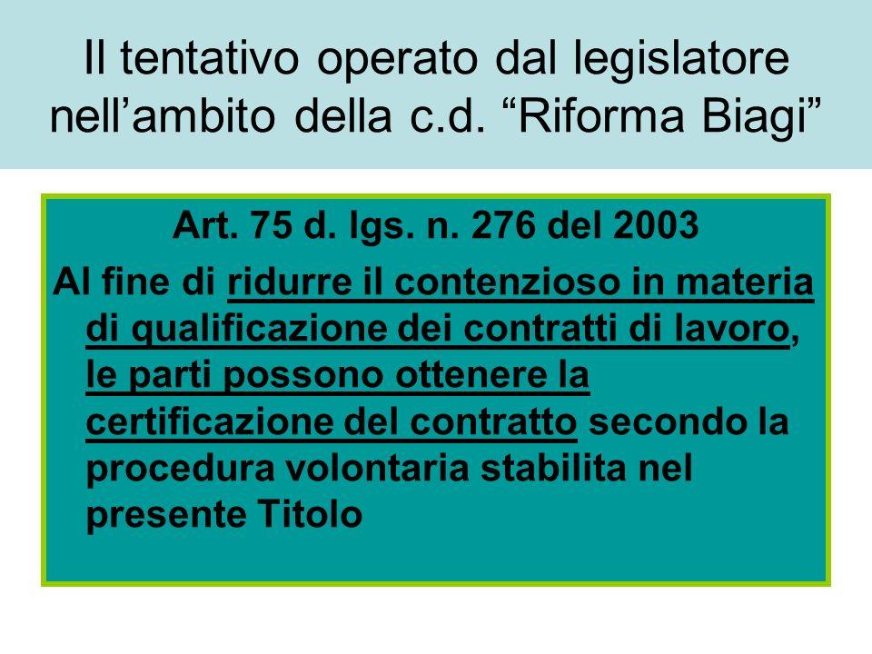 Il tentativo operato dal legislatore nellambito della c.d. Riforma Biagi Art. 75 d. lgs. n. 276 del 2003 Al fine di ridurre il contenzioso in materia