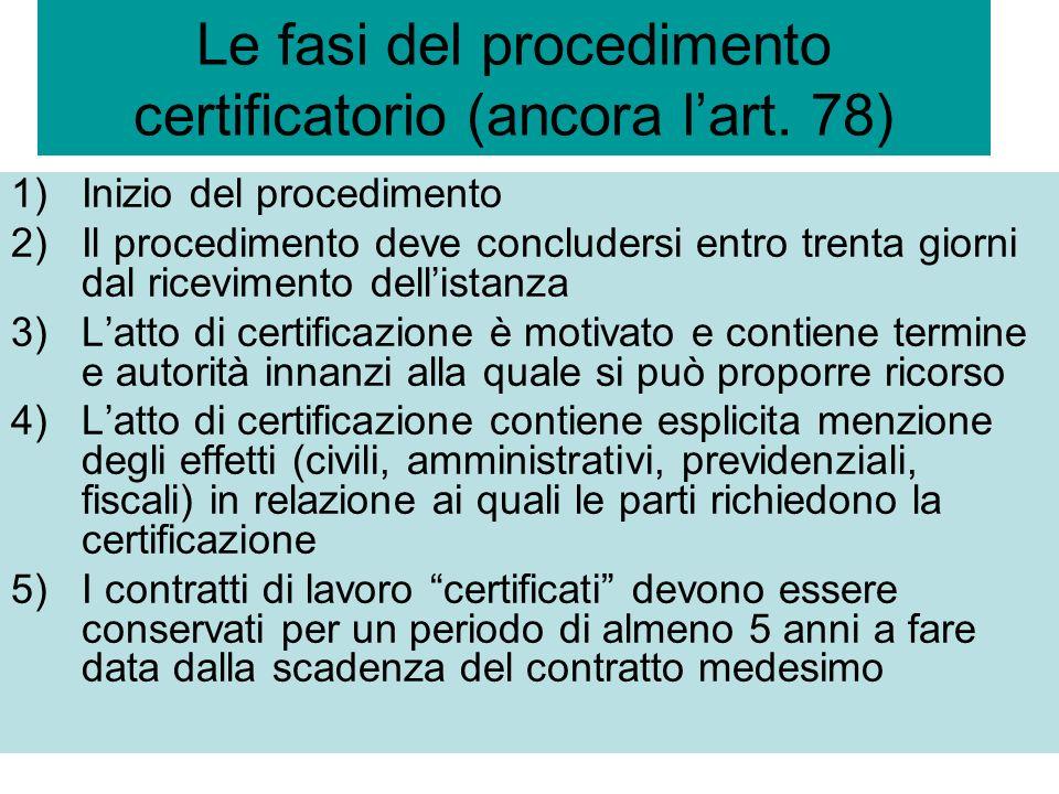 Le fasi del procedimento certificatorio (ancora lart. 78) 1)Inizio del procedimento 2)Il procedimento deve concludersi entro trenta giorni dal ricevim