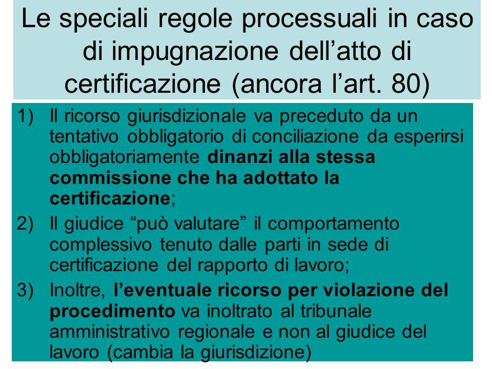 Le speciali regole processuali in caso di impugnazione dellatto di certificazione (ancora lart. 80) 1)Il ricorso giurisdizionale va preceduto da un te
