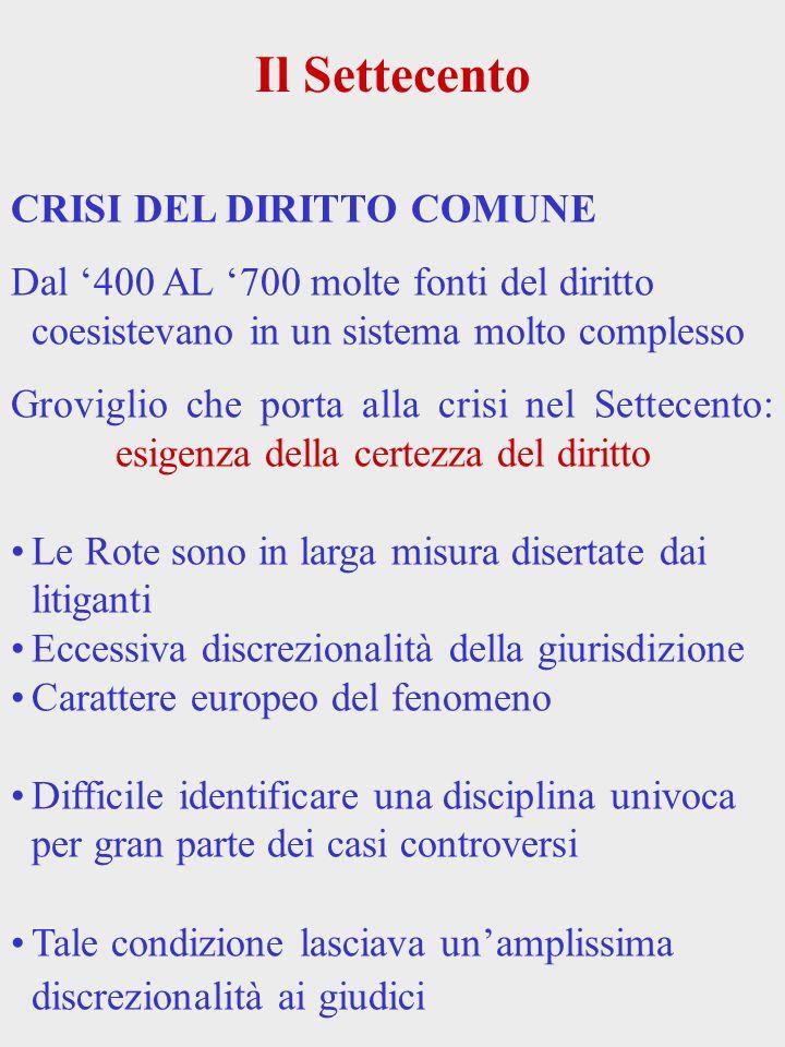 Il Settecento CRISI DEL DIRITTO COMUNE Dal 400 AL 700 molte fonti del diritto coesistevano in un sistema molto complesso Groviglio che porta alla cris