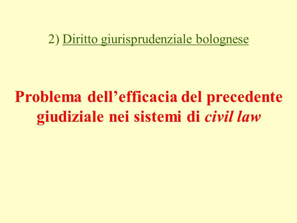 2) Diritto giurisprudenziale bolognese Problema dellefficacia del precedente giudiziale nei sistemi di civil law