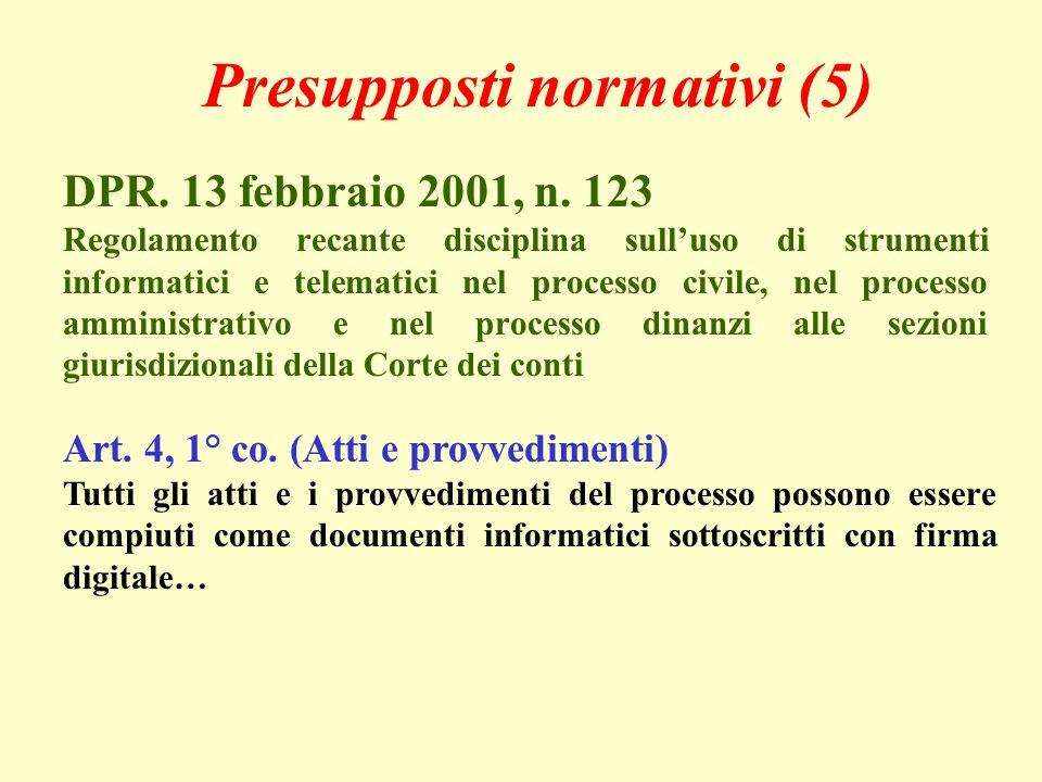 Presupposti normativi (5) DPR. 13 febbraio 2001, n.