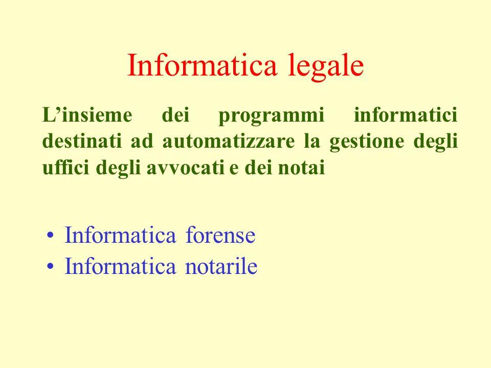 Informatica legale Informatica forense Informatica notarile Linsieme dei programmi informatici destinati ad automatizzare la gestione degli uffici degli avvocati e dei notai