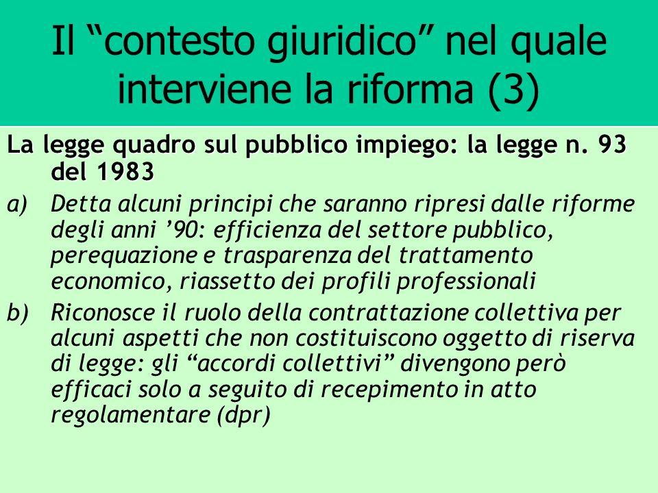 Il contesto giuridico nel quale interviene la riforma (3) La legge quadro sul pubblico impiego: la legge n. 93 del 1983 a)Detta alcuni principi che sa