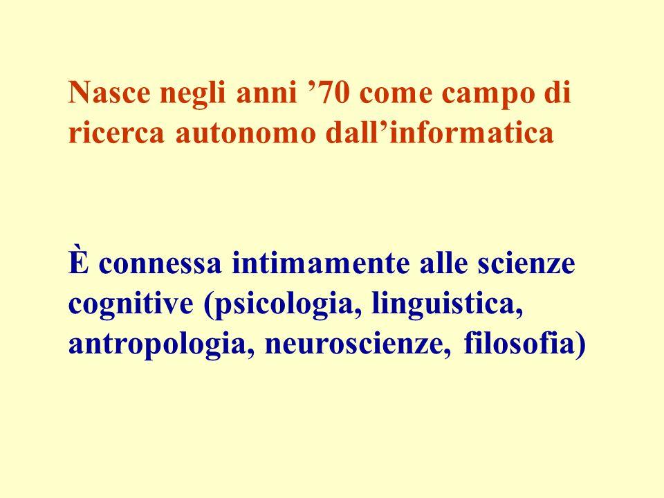 Nasce negli anni 70 come campo di ricerca autonomo dallinformatica È connessa intimamente alle scienze cognitive (psicologia, linguistica, antropologia, neuroscienze, filosofia)