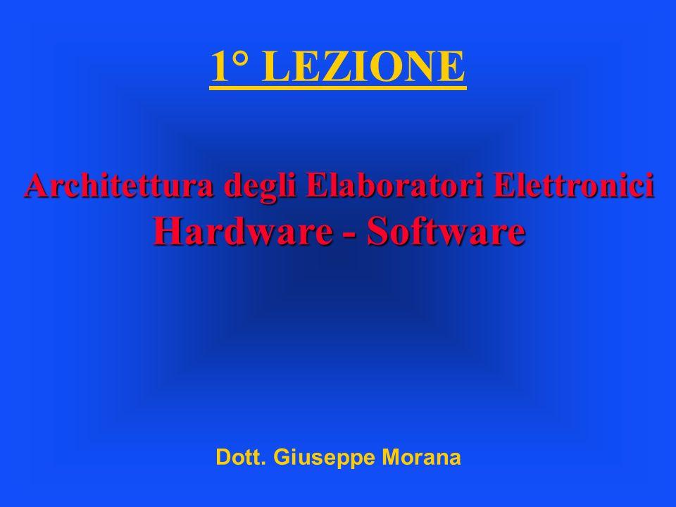 1° LEZIONE Architettura degli Elaboratori Elettronici Hardware - Software Dott. Giuseppe Morana