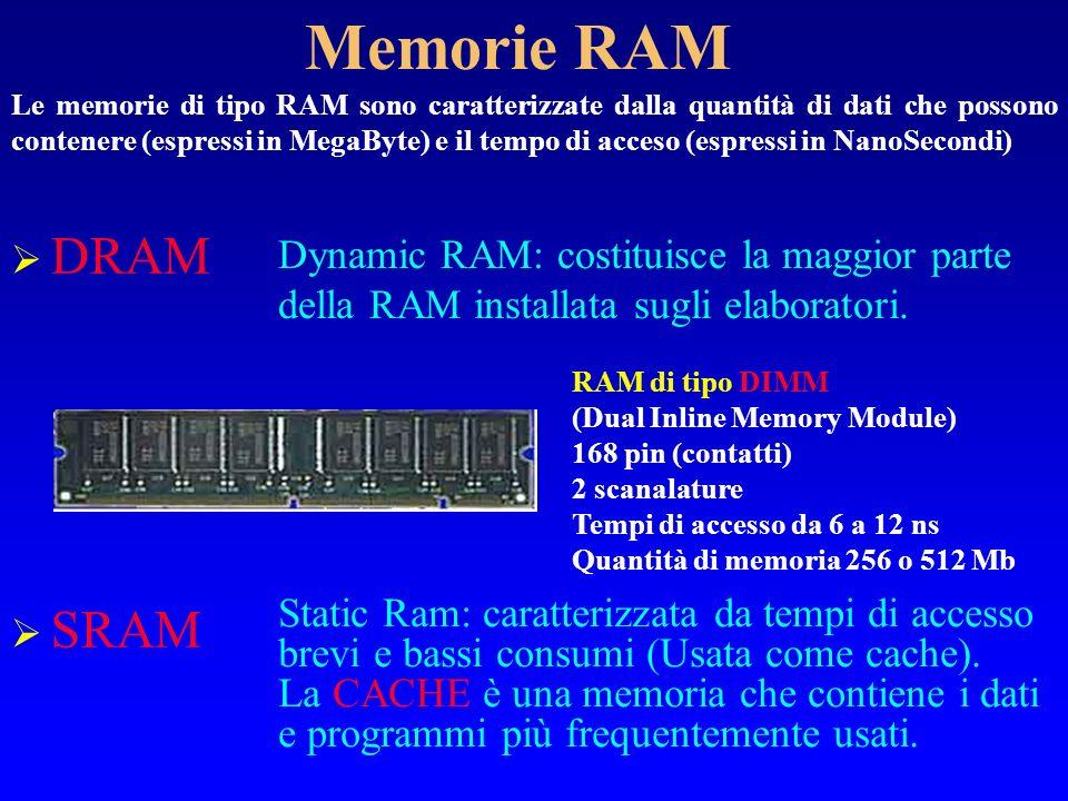 Memorie RAM DRAM Dynamic RAM: costituisce la maggior parte della RAM installata sugli elaboratori. SRAM Static Ram: caratterizzata da tempi di accesso