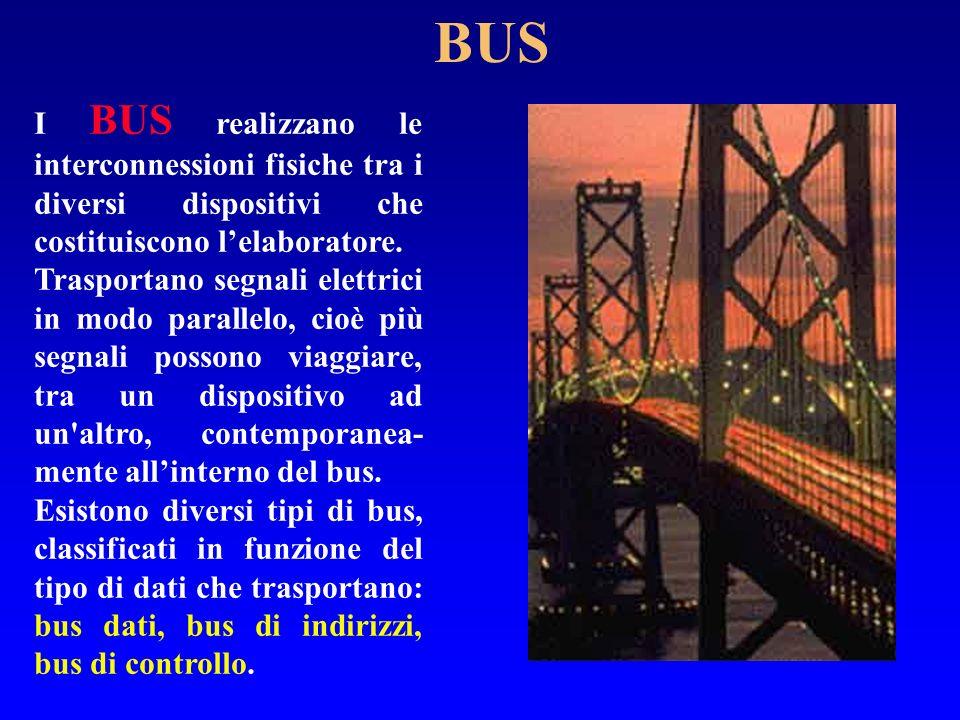 BUS I BUS realizzano le interconnessioni fisiche tra i diversi dispositivi che costituiscono lelaboratore. Trasportano segnali elettrici in modo paral