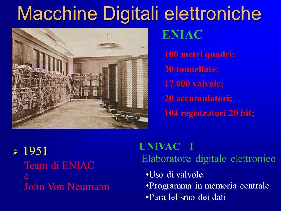 Macchine Digitali elettroniche 1951 Uso di valvole Programma in memoria centrale Parallelismo dei dati Team di ENIAC e John Von Neumann UNIVAC I Elabo