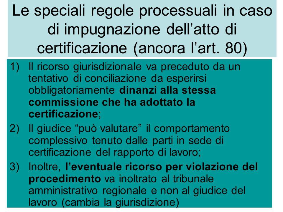 Le speciali regole processuali in caso di impugnazione dellatto di certificazione (ancora lart.