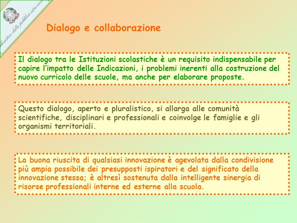 Dialogo e collaborazione Il dialogo tra le Istituzioni scolastiche è un requisito indispensabile per capire limpatto delle Indicazioni, i problemi inerenti alla costruzione del nuovo curricolo delle scuole, ma anche per elaborare proposte.