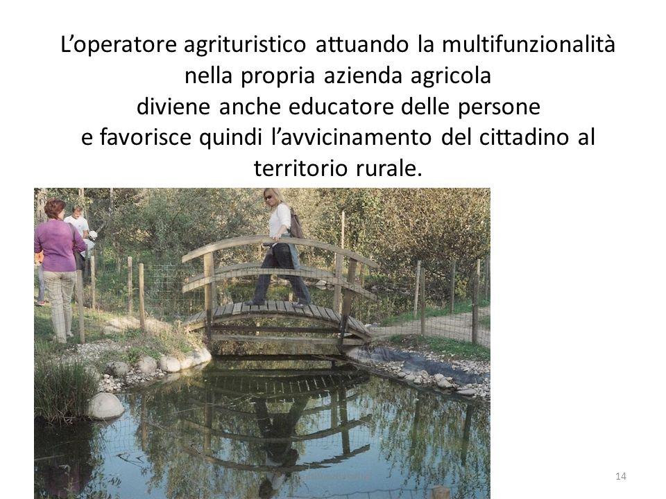 14multifunzionalita' Loperatore agrituristico attuando la multifunzionalità nella propria azienda agricola diviene anche educatore delle persone e fav