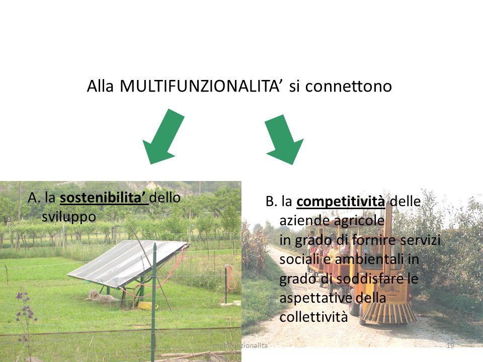 19multifunzionalita' Alla MULTIFUNZIONALITA si connettono A. la sostenibilita dello sviluppo B. la competitività delle aziende agricole in grado di fo