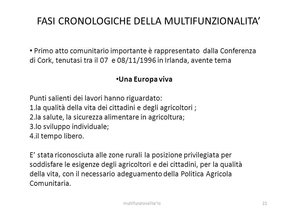 21multifunzionalitaio Primo atto comunitario importante è rappresentato dalla Conferenza di Cork, tenutasi tra il 07 e 08/11/1996 in Irlanda, avente t
