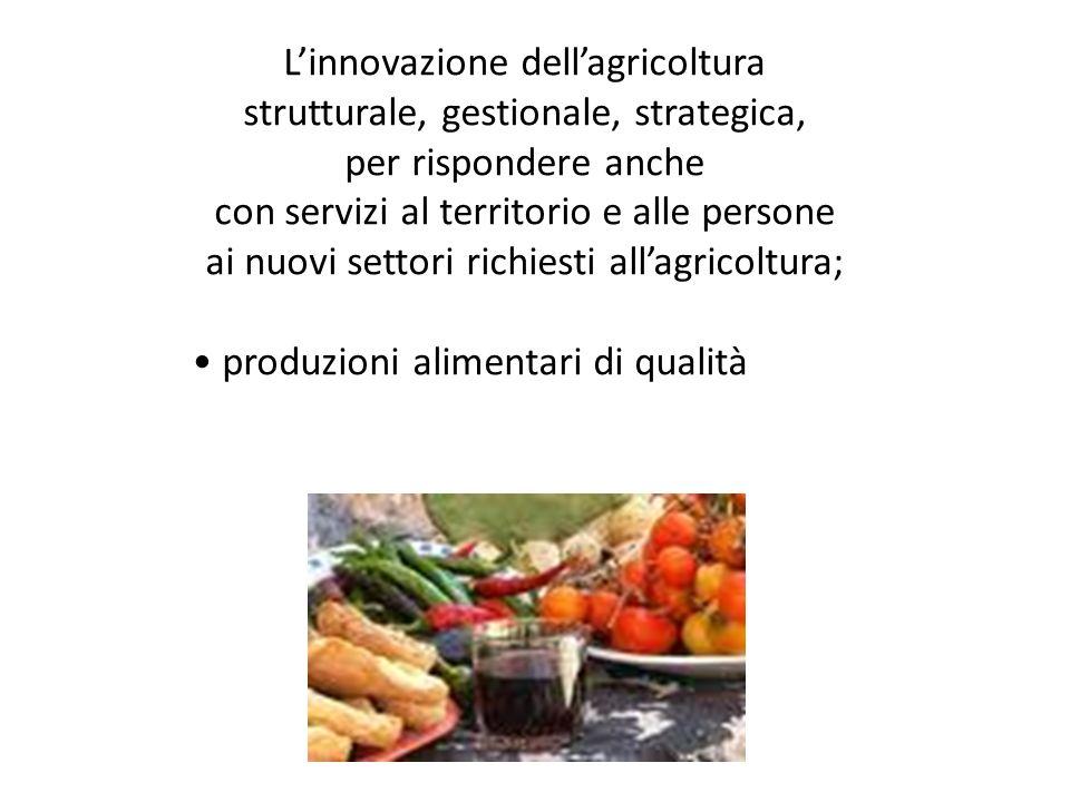 Linnovazione dellagricoltura strutturale, gestionale, strategica, per rispondere anche con servizi al territorio e alle persone ai nuovi settori richi