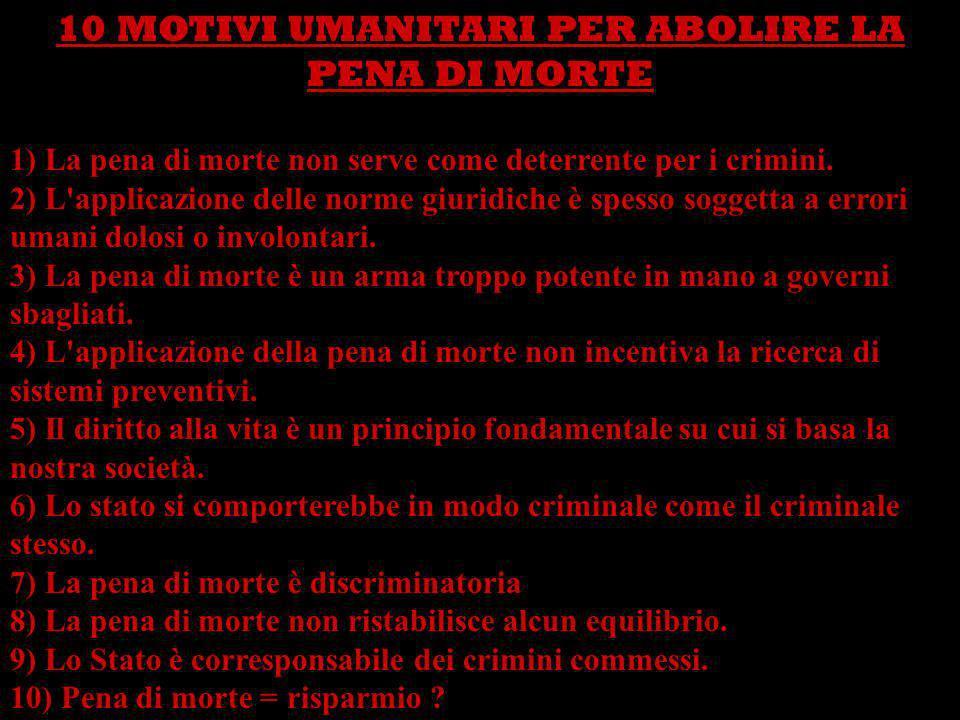 10 MOTIVI UMANITARI PER ABOLIRE LA PENA DI MORTE 1) La pena di morte non serve come deterrente per i crimini. 2) L'applicazione delle norme giuridiche