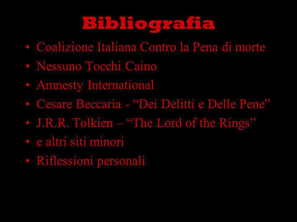 Bibliografia Coalizione Italiana Contro la Pena di morte Nessuno Tocchi Caino Amnesty International Cesare Beccaria - Dei Delitti e Delle Pene J.R.R.