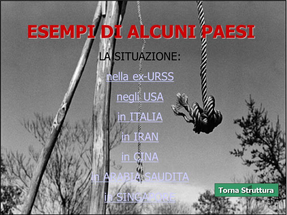 ESEMPI DI ALCUNI PAESI LA SITUAZIONE: nella ex-URSS negli USA in ITALIA in IRAN in CINA in ARABIA SAUDITA in SINGAPORE Torna Struttura Torna Struttura