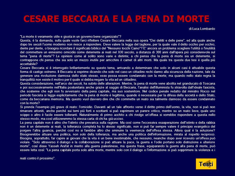CESARE BECCARIA E LA PENA DI MORTE di Luca Lombardo