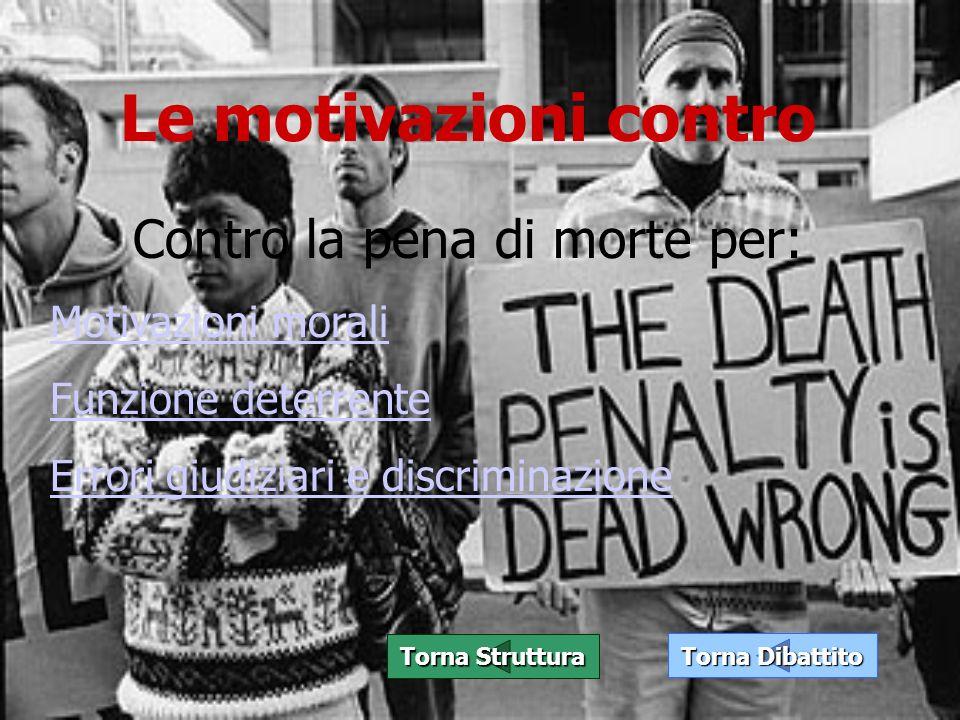 Le motivazioni contro Torna Dibattito Torna Dibattito Torna Struttura Torna Struttura Contro la pena di morte per: Motivazioni morali Funzione deterre