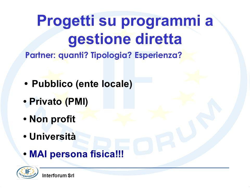 Interforum Srl Progetti su programmi a gestione diretta Partner: quanti? Tipologia? Esperienza? Pubblico (ente locale) Privato (PMI) Non profit Univer