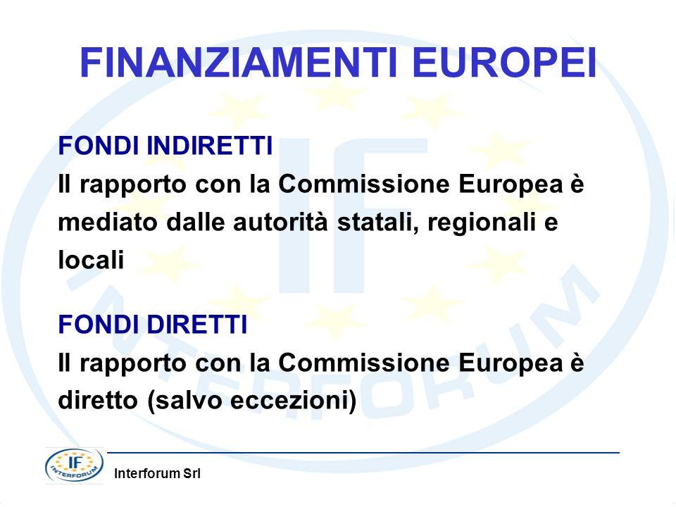 Interforum Srl FINANZIAMENTI EUROPEI FONDI INDIRETTI Il rapporto con la Commissione Europea è mediato dalle autorità statali, regionali e locali FONDI DIRETTI Il rapporto con la Commissione Europea è diretto (salvo eccezioni)