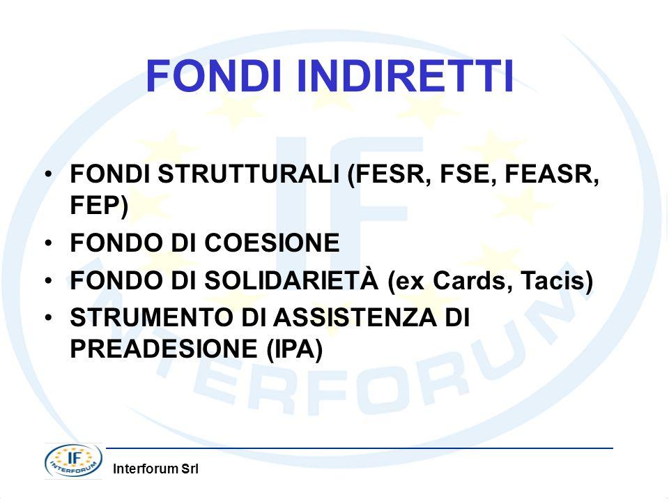Interforum Srl FONDI INDIRETTI FONDI STRUTTURALI (FESR, FSE, FEASR, FEP) FONDO DI COESIONE FONDO DI SOLIDARIETÀ (ex Cards, Tacis) STRUMENTO DI ASSISTENZA DI PREADESIONE (IPA)