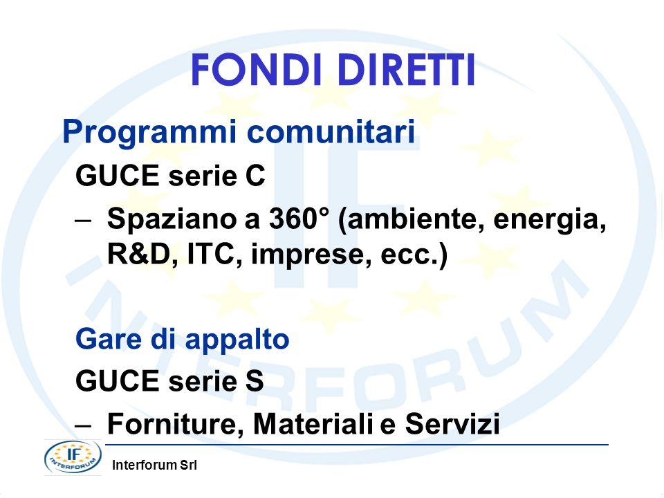 Interforum Srl FONDI DIRETTI Programmi comunitari GUCE serie C –Spaziano a 360° (ambiente, energia, R&D, ITC, imprese, ecc.) Gare di appalto GUCE seri