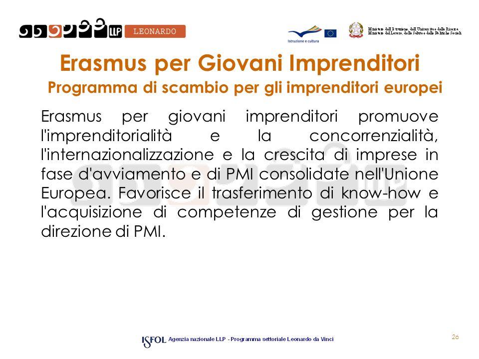 Erasmus per Giovani Imprenditori Erasmus per giovani imprenditori promuove l imprenditorialità e la concorrenzialità, l internazionalizzazione e la crescita di imprese in fase d avviamento e di PMI consolidate nell Unione Europea.