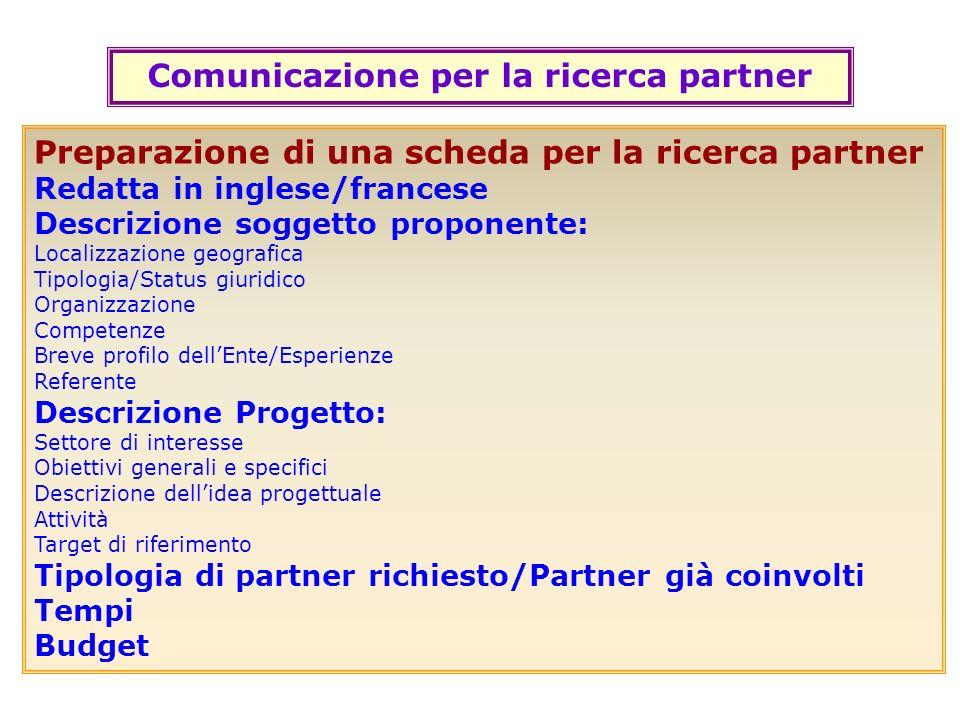 Comunicazione per la ricerca partner Preparazione di una scheda per la ricerca partner Redatta in inglese/francese Descrizione soggetto proponente: Lo