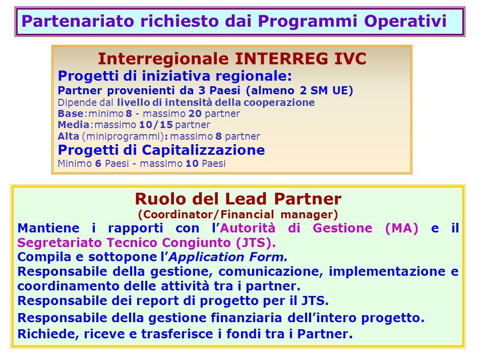 Partenariato richiesto dai Programmi Operativi Interregionale INTERREG IVC Progetti di iniziativa regionale: Partner provenienti da 3 Paesi (almeno 2
