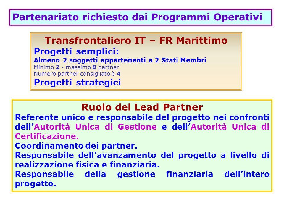 Partenariato richiesto dai Programmi Operativi Transfrontaliero IT – FR Marittimo Progetti semplici: Almeno 2 soggetti appartenenti a 2 Stati Membri M
