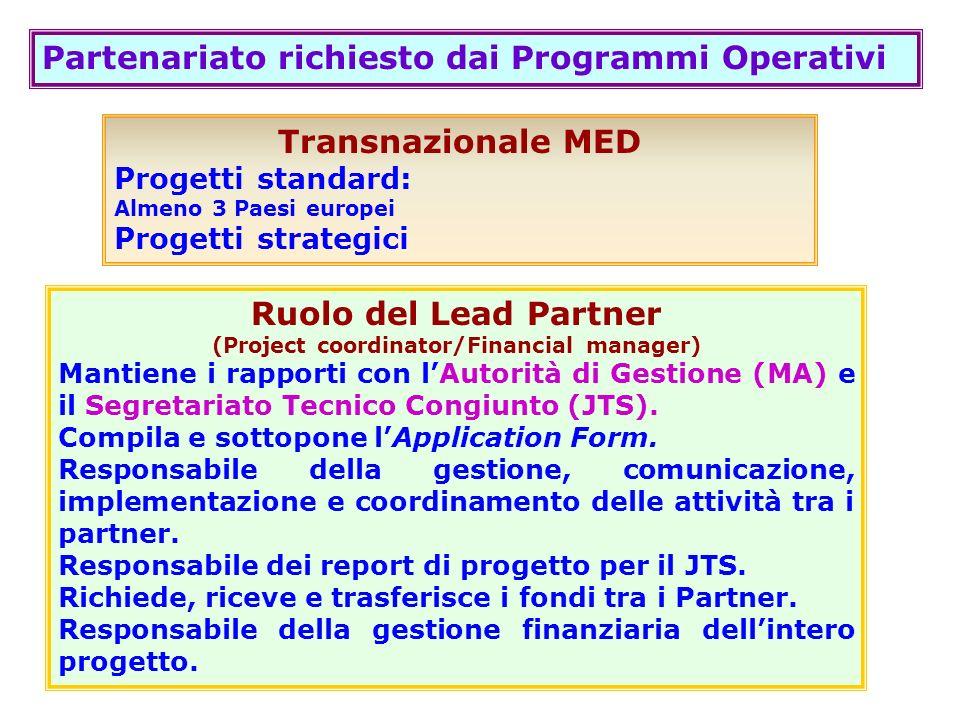 Partenariato richiesto dai Programmi Operativi Transnazionale MED Progetti standard: Almeno 3 Paesi europei Progetti strategici Ruolo del Lead Partner