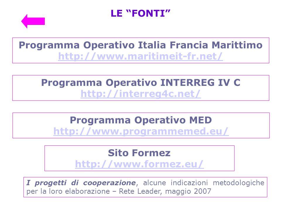Programma Operativo Italia Francia Marittimo http://www.maritimeit-fr.net/ LE FONTI Programma Operativo MED http://www.programmemed.eu/ Programma Oper