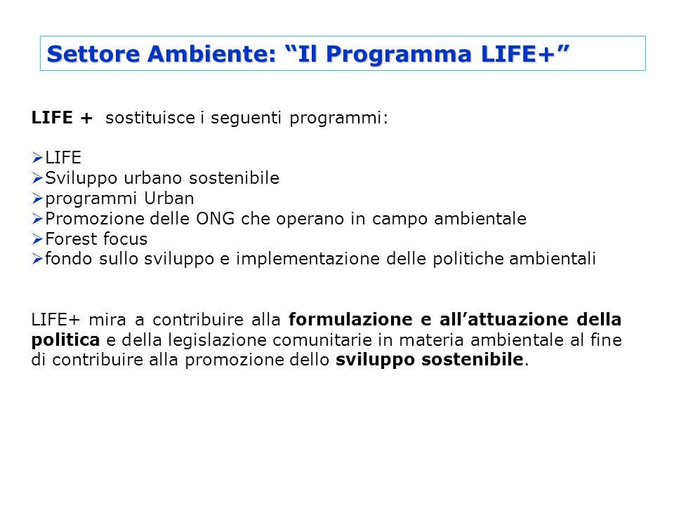 Settore Ambiente: Il Programma LIFE+ LIFE + sostituisce i seguenti programmi: LIFE Sviluppo urbano sostenibile programmi Urban Promozione delle ONG ch