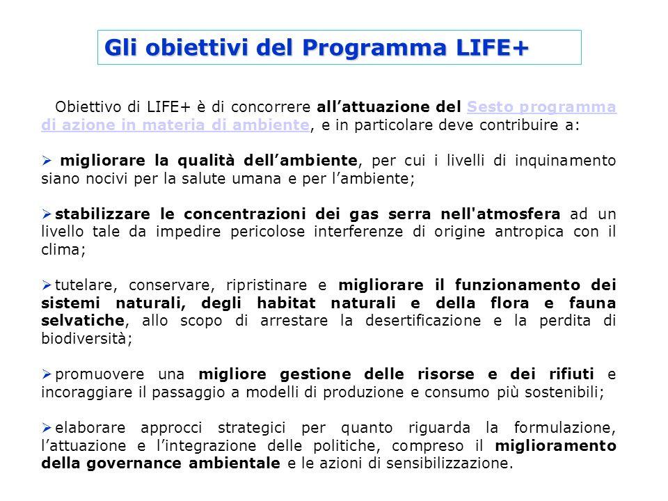 Gli obiettivi del Programma LIFE+ Obiettivo di LIFE+ è di concorrere allattuazione del Sesto programma di azione in materia di ambiente, e in particol