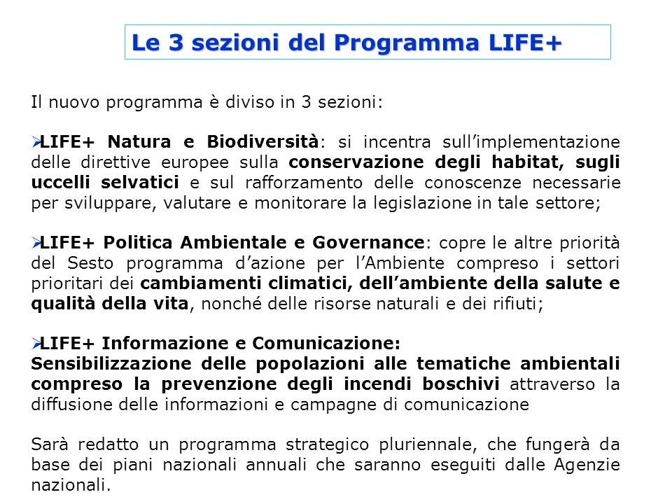 Le 3 sezioni del Programma LIFE+ Il nuovo programma è diviso in 3 sezioni: LIFE+ Natura e Biodiversità: si incentra sullimplementazione delle direttiv