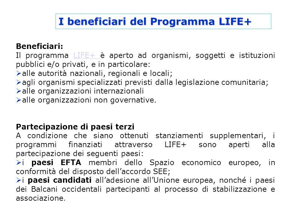 I beneficiari del Programma LIFE+ Beneficiari: Il programma LIFE+ è aperto ad organismi, soggetti e istituzioni pubblici e/o privati, e in particolare
