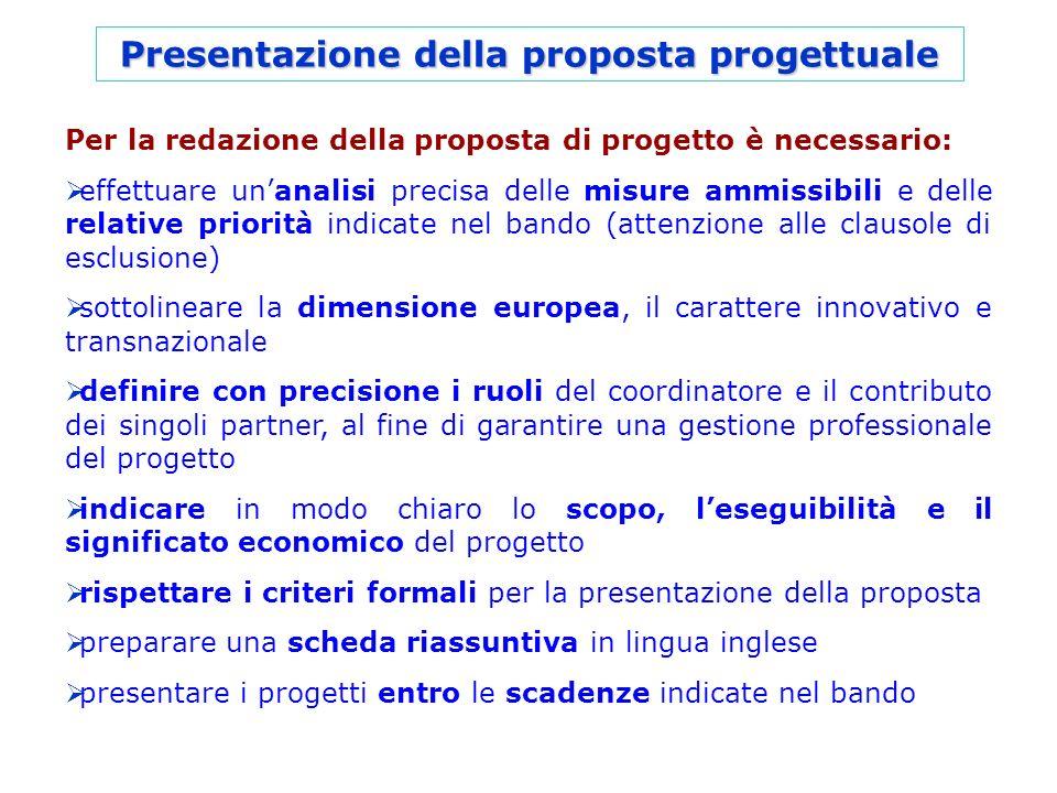 Presentazione della proposta progettuale Per la redazione della proposta di progetto è necessario: effettuare unanalisi precisa delle misure ammissibi
